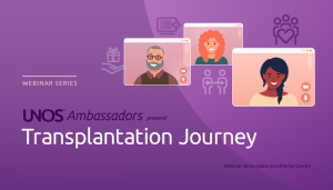 Purple background with three computer monitor shapes with 3 individuals smiling, cartoon style