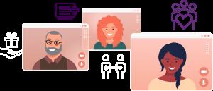 Illustration of 3 smiling people inside computer screens